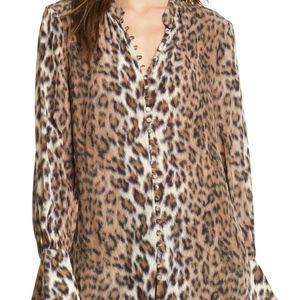 Joie Tariana Leopard Blouse SZ XXS - NWT